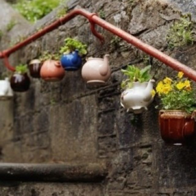 Blooming lovelies hung in old teapots. Brilliance.