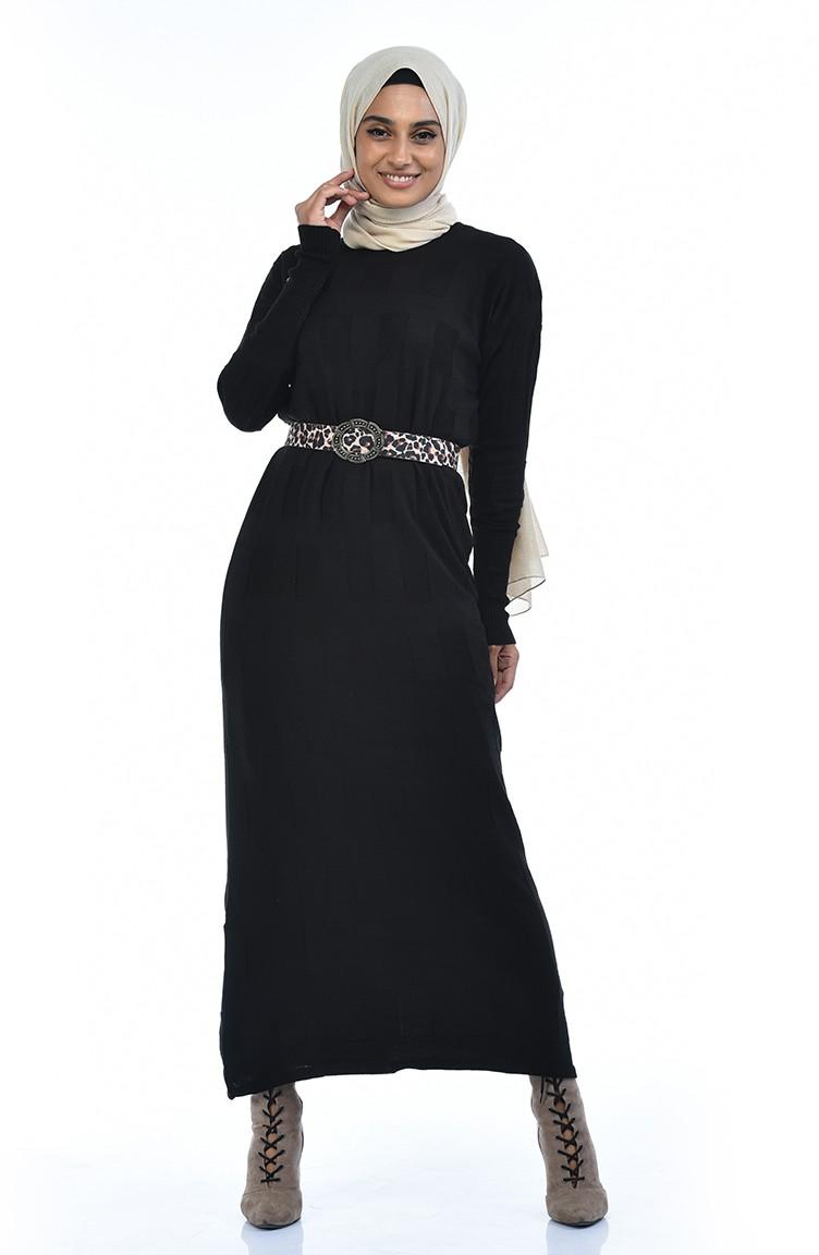 Triko Yarasa Kol Elbise 8010 03 Siyah Elbise Triko Mankenler