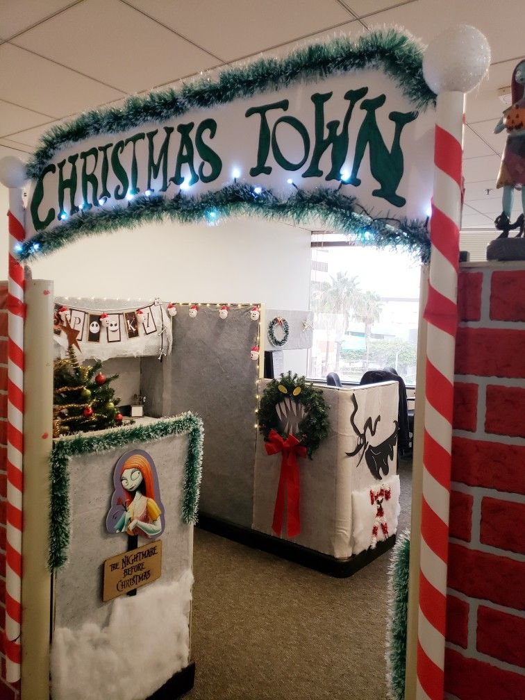 Christmas town sign, cubicle decorating contest ...