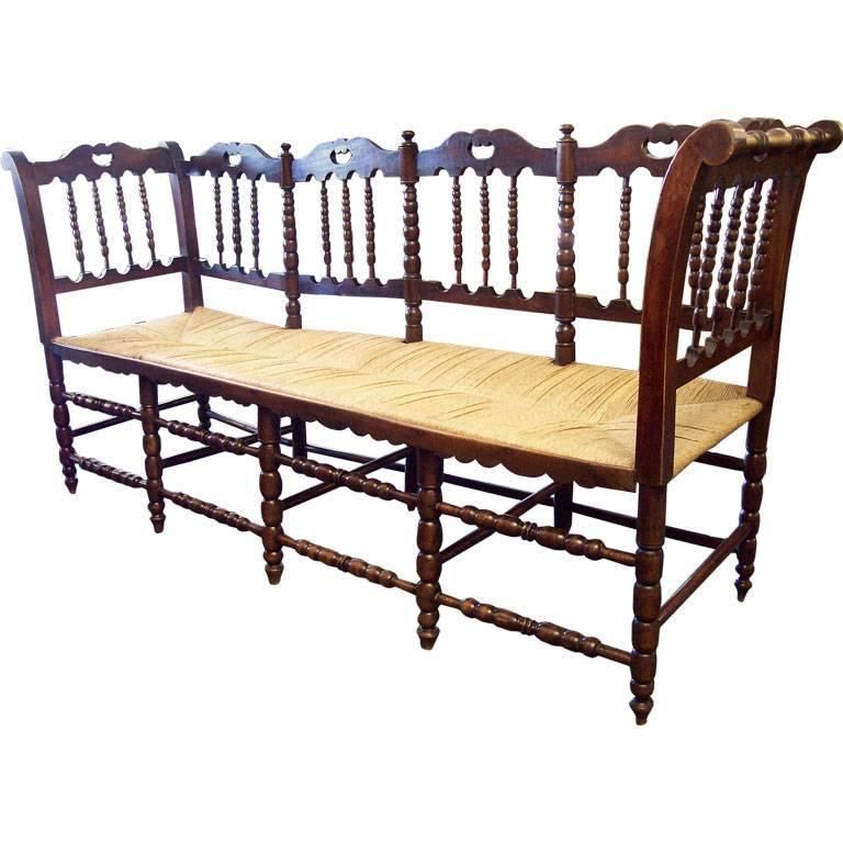 Awesome Antique French Rush Seated Bench With Spindle Back In 2019 Lamtechconsult Wood Chair Design Ideas Lamtechconsultcom