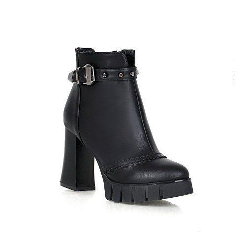 Women's Zipper Round Closed Toe High-Heels Low Top Boots