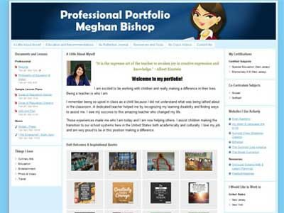Sample portfolio for meghan bishop pab pinterest for Professional teaching portfolio template