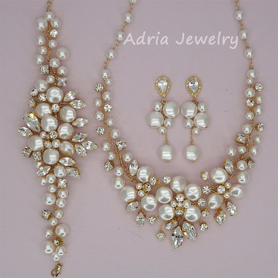 Gold Wedding Jewelry Set Swarovski Crystal Bridal Sets Pearls