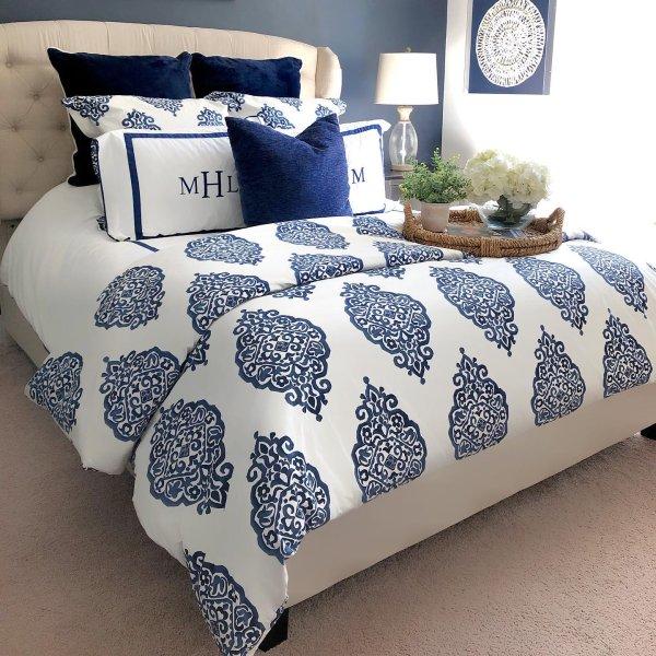 Asher Medallion Organic Percale Duvet Cover Shams Twilight In 2020 Bedroom Styles Blue Duvet Barn Bedrooms