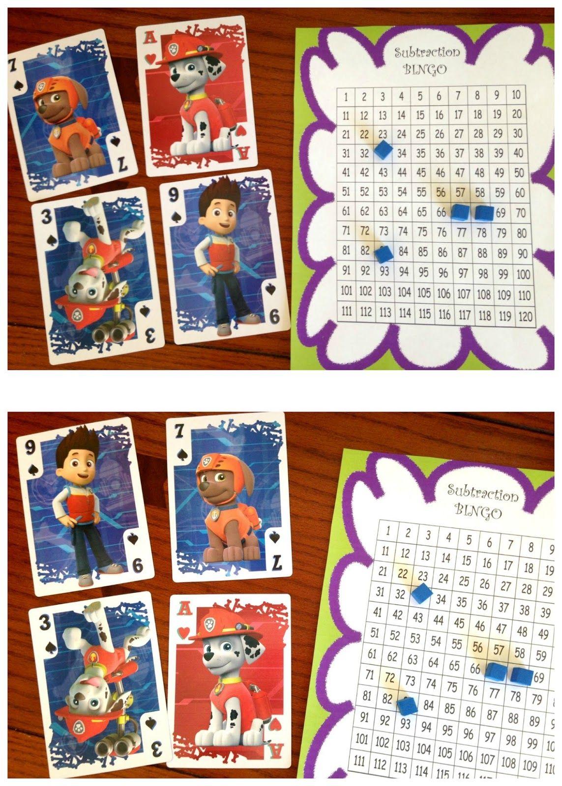 Free Subtraction Bingo Math Game