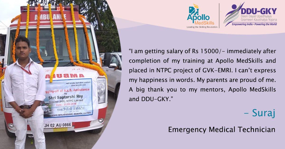 Suraj, an Emergency Medical Technician Trainee secured
