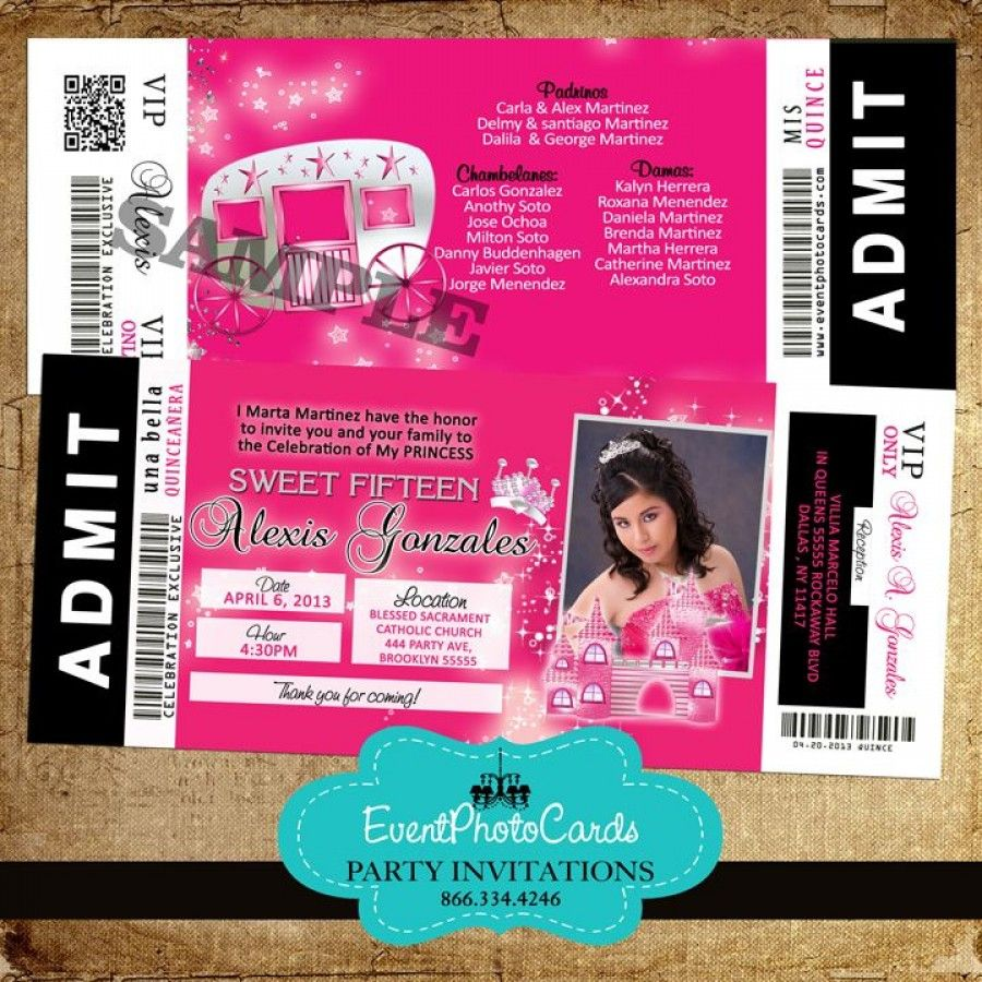 quinceanera ticket invitation vip concert change colors princess