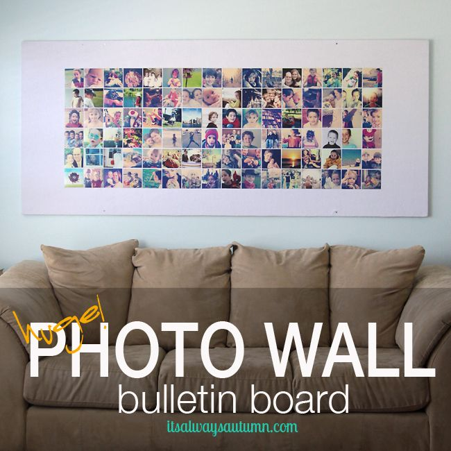 Photo Wall huge diy photo wall bulletin board {instagram wall} - for $15