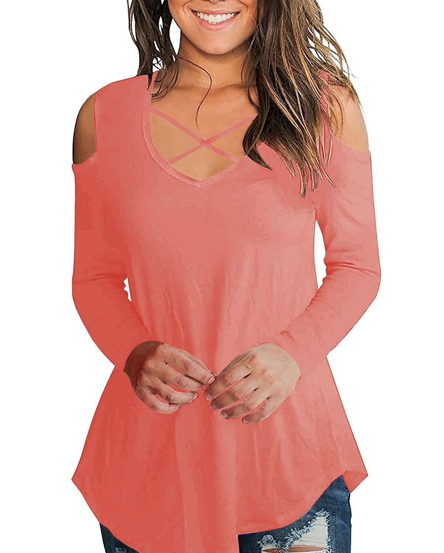 49db135810b18e Aolakeke Cold Shoulder Short/Long Sleeve T Shirts V Neck Tops Casual Criss  Cross Tunic Blouse