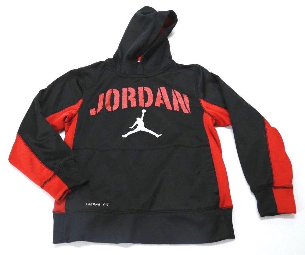 65b999ad01d5 Kid s Boy s Nike Therma Fit Pull Over Hoodie Air Jordan Logo Black Red  Medium  Nike  Hoodie