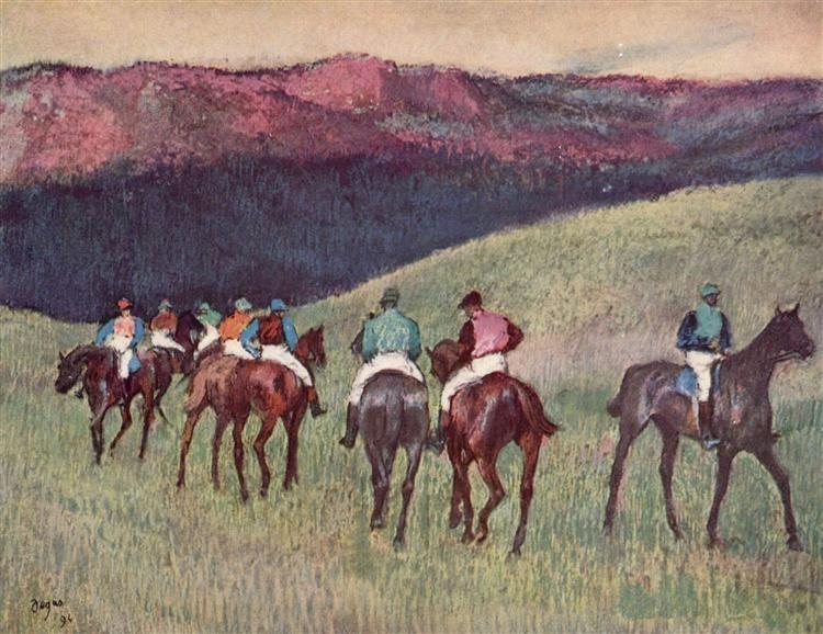 Racehorses+in+a+Landscape,+1894+-+Edgar+Degas