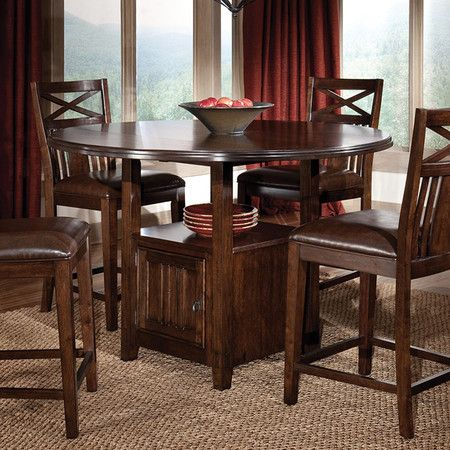 Showcasing Streamlined Silhouette And Detailed Veneer Top This Handsome Counter He Round Dining Room Table Dining Room Table Set Round Glass Dining Room Table