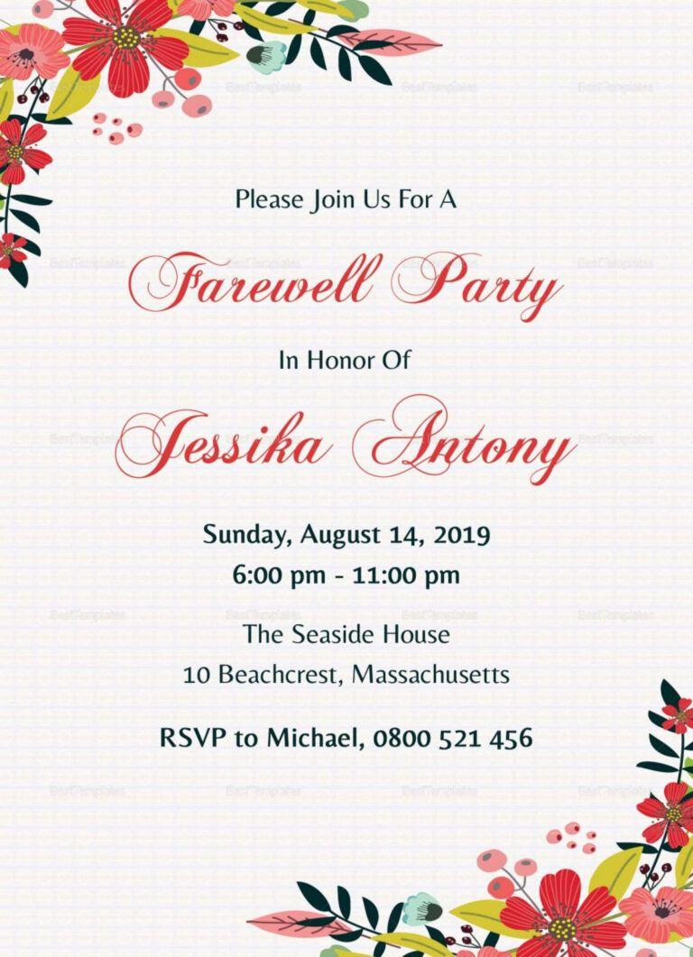 Unique Invitation Card For Teachers On Farewell Party Pertaining To Farewell Invitati Party Invite Template Farewell Invitation Card Farewell Party Invitations