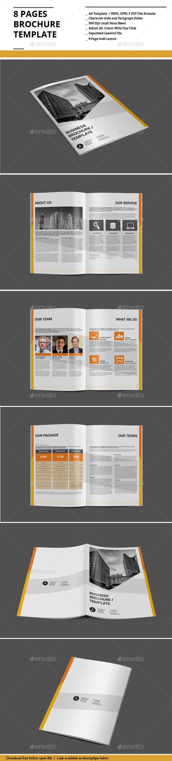 8 pages brochure template corporate brochures allblue envato