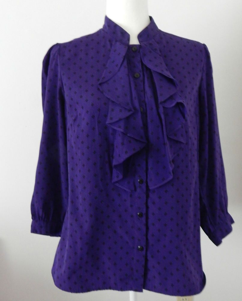 Womens Size 12/14 George long sleeve solid purple button down ...