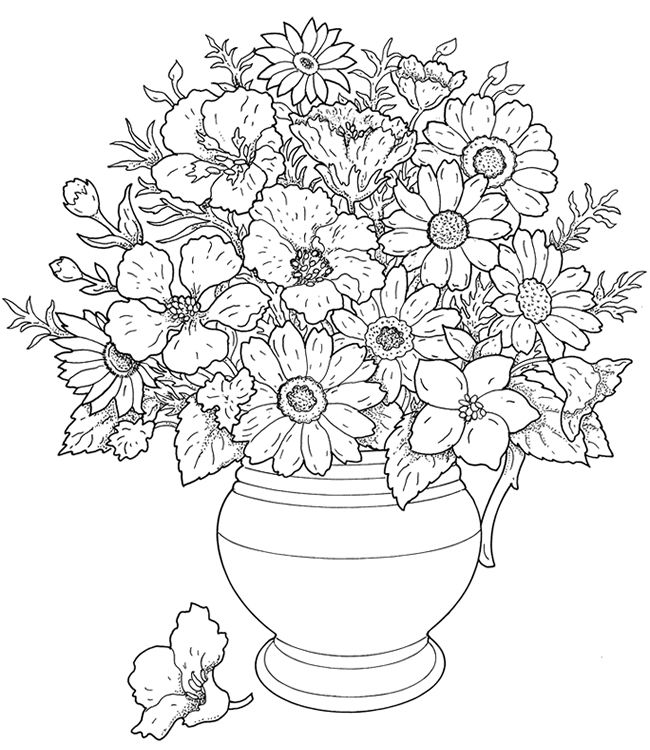 Vase Of Wild Flowershi Coloring Page For Kids And Adults From Natural World Pages Flowers
