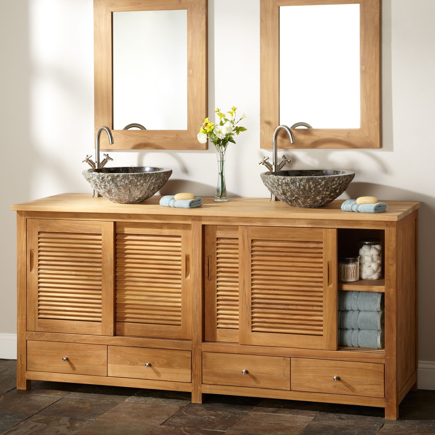 Teak bathroom storage cabinet - Made Of Durable Golden Hued Teak This Bathroom Vanity Has Sliding Louvered Doors And Four Drawers Giving You Lots Of Space For Storage
