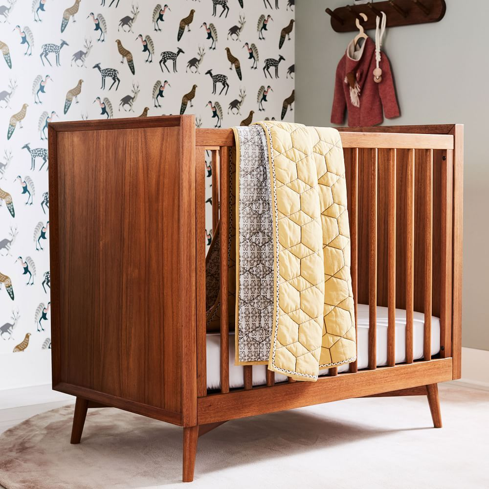 Mid Century Mini Crib Amp Mattress Set Acorn Mini Crib