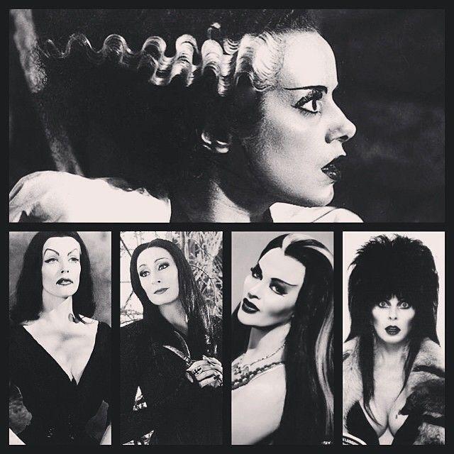 Creepy Girls #brideoffrankenstein #vampira #morticiaaddams #lilymunster #elvirathemistressofthedark