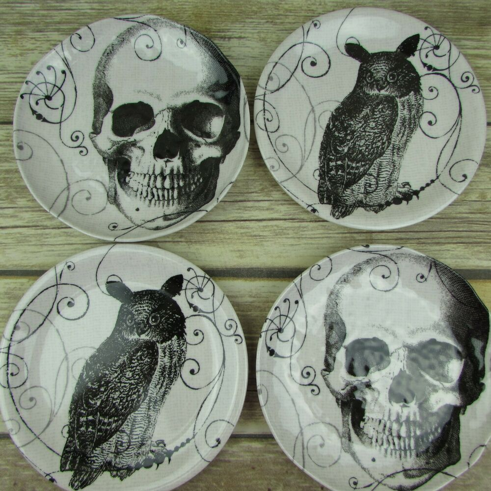Set of 4 Skull And Owl Melamine Appetizer Plates Hallows ...