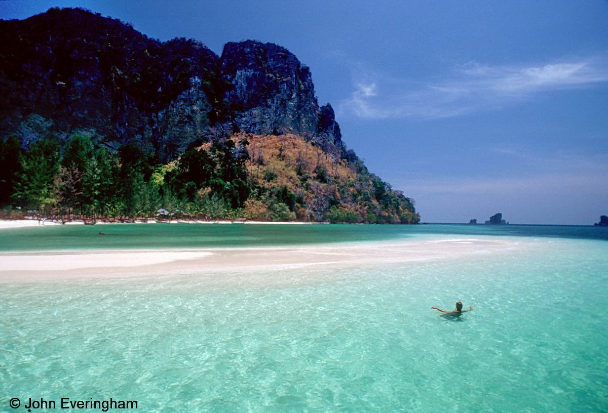 Koh Poda Beach, Krabi, Thailand. The sandbar that makes a beach and lagoon li...