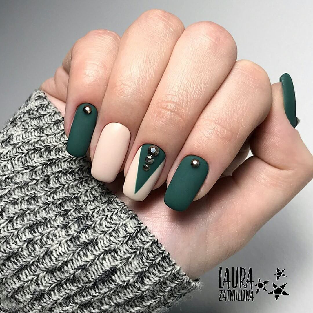 Nail Art 4389 Nails Design With Rhinestones Classic Nails Green Nails