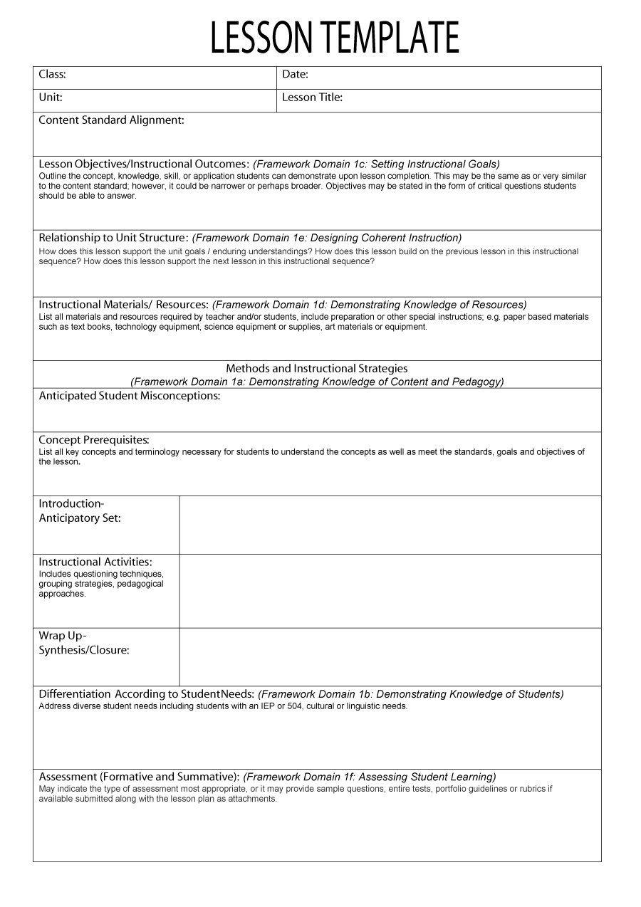 Lesson Plan Format Lesson Plan Template Pinterest Lesson plan