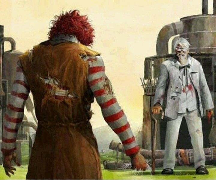 Who Would Win Ronald Mcdonald Or Colonel Sanders Well You Re All Wrong The Burger King Would Win Followed Closely By Runner U In 2020 Geek Art Kfc Funny Pictures