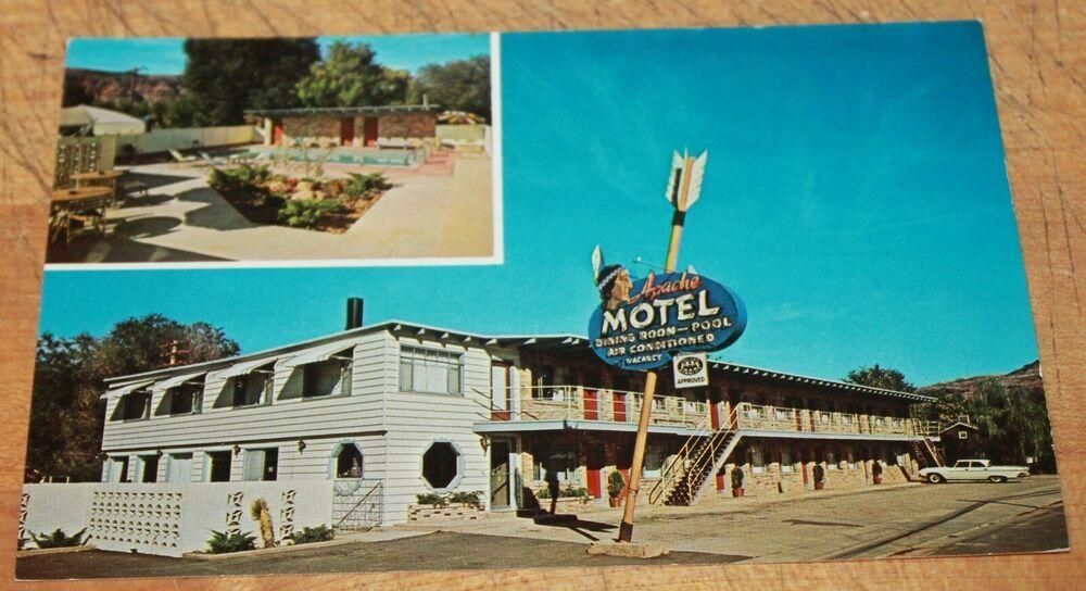 Details about 60s pc apache motel moab utah 2 views old
