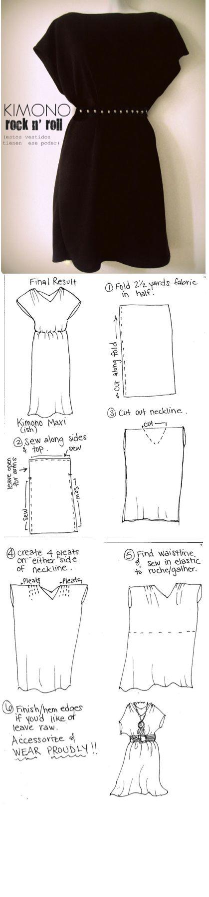 Kimono Dress | Costuras & Tejidos | Corte y confección, Costura ...
