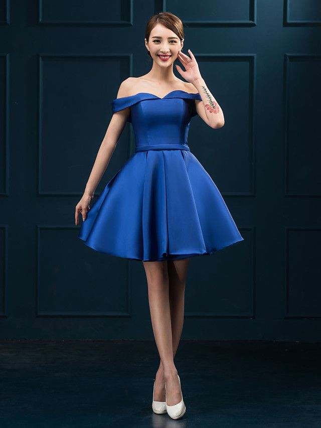 2372f7ab4be Cocktail Party Dress - Royal Blue Plus Sizes Ball Gown Off-the-shoulder  Short Mini Satin - USD  39.99