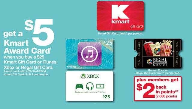 7 With Purchase Of 25 Gift Card Kmart Itunes Xbox Or Regal