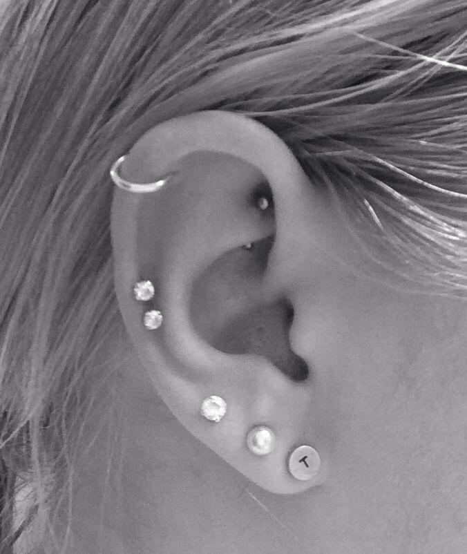 Ear Piercing Types Cartilage Double cartilage piercing ... Ear Piercings Types