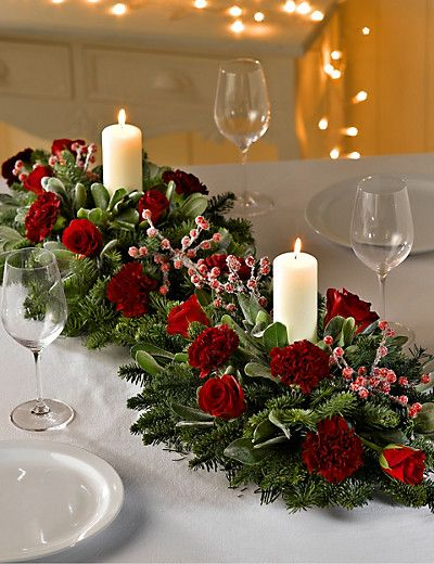double christmas table arrangement flowers - Christmas Flower Decorations