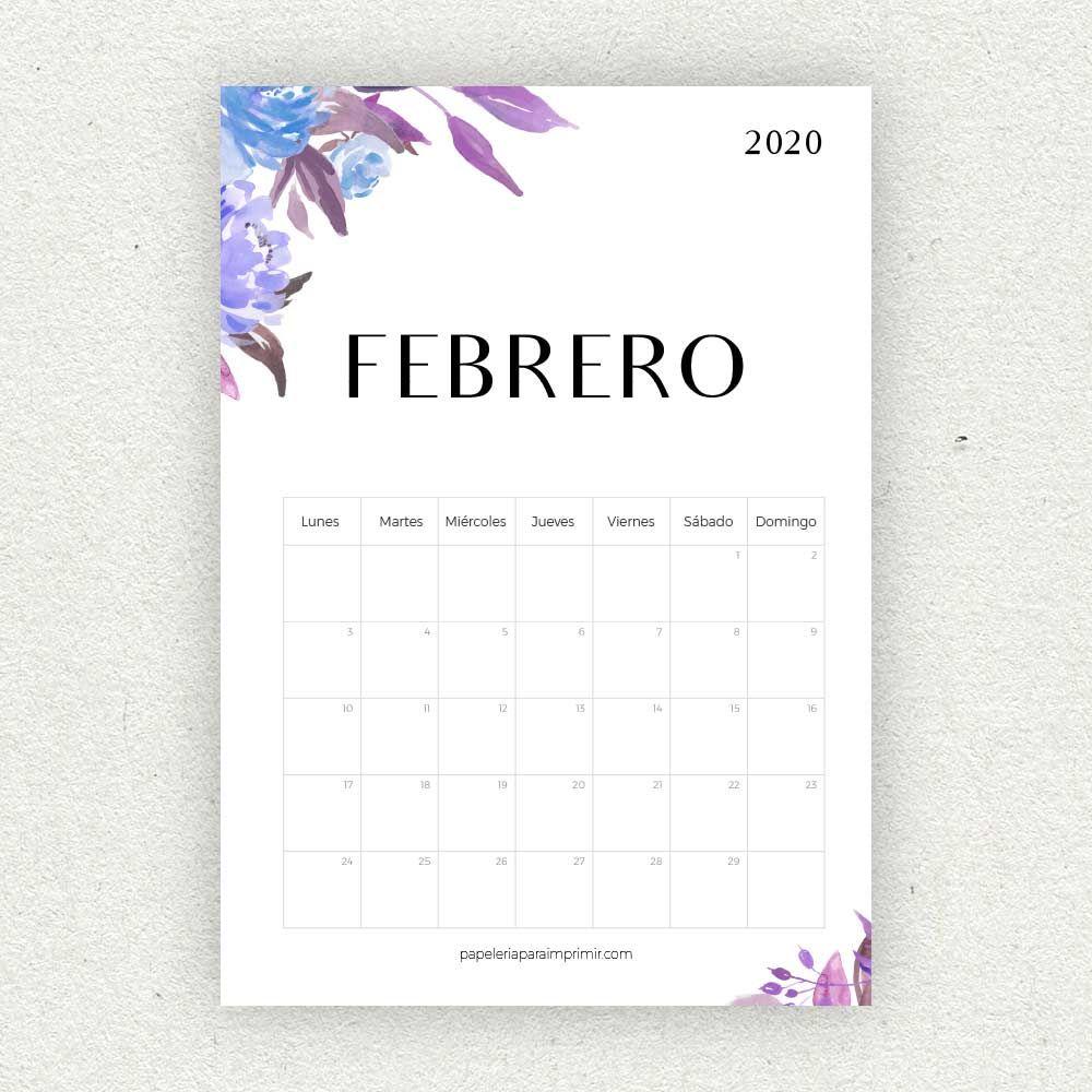 Calendario Febrero 2020 Para Imprimir Calendario Mensual Flores