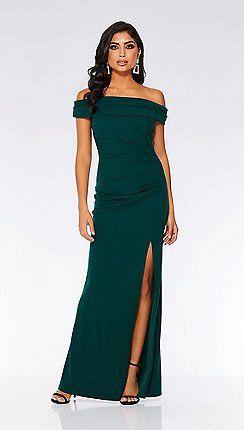 55ec326e6b Quiz - Bottle green Bardot ruched fishtail maxi dress