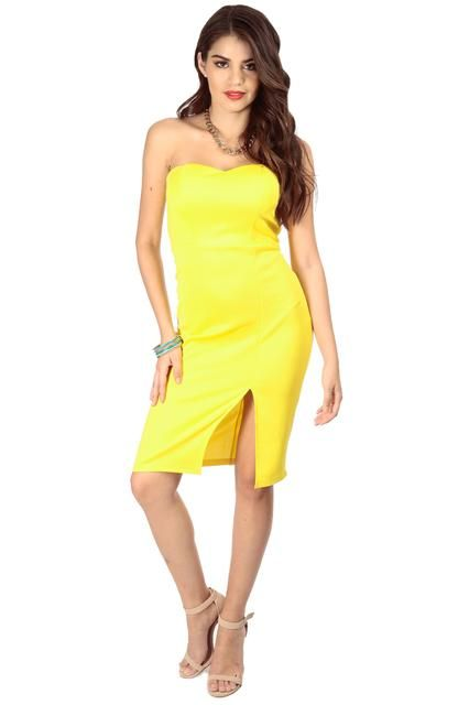 61596589fe31a CICI HOT: Yellow Front Slit Strapless Midi Dress for $29.99 :: Faearch