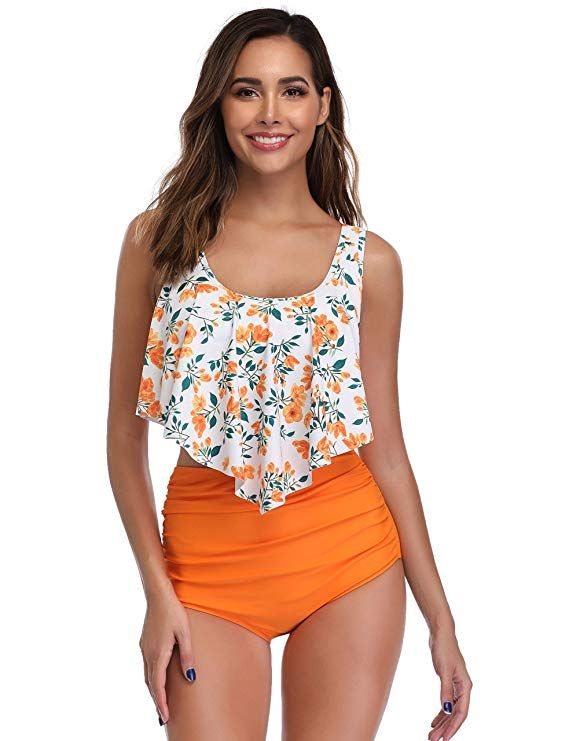 2f398497884 Amazon.com  MarinaVida Swimsuit for Women Two Pieces Bathing Suits Top  Ruffled Racerback with