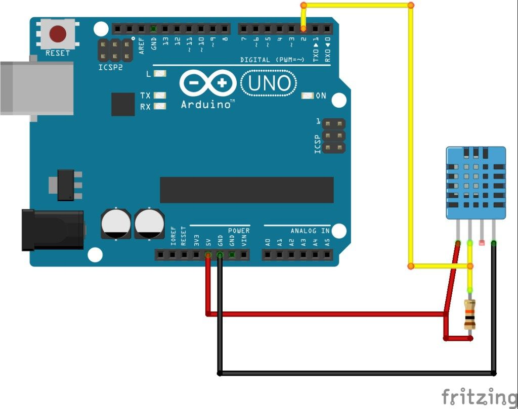 DHT11 Temperature and Humidity Sensor with Arduino Schematic Diagram    Random Nerd Tutorials