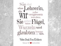 Kunstdruck Unsere Lehrerin Grau Danke Spruch Abschied Lehrer