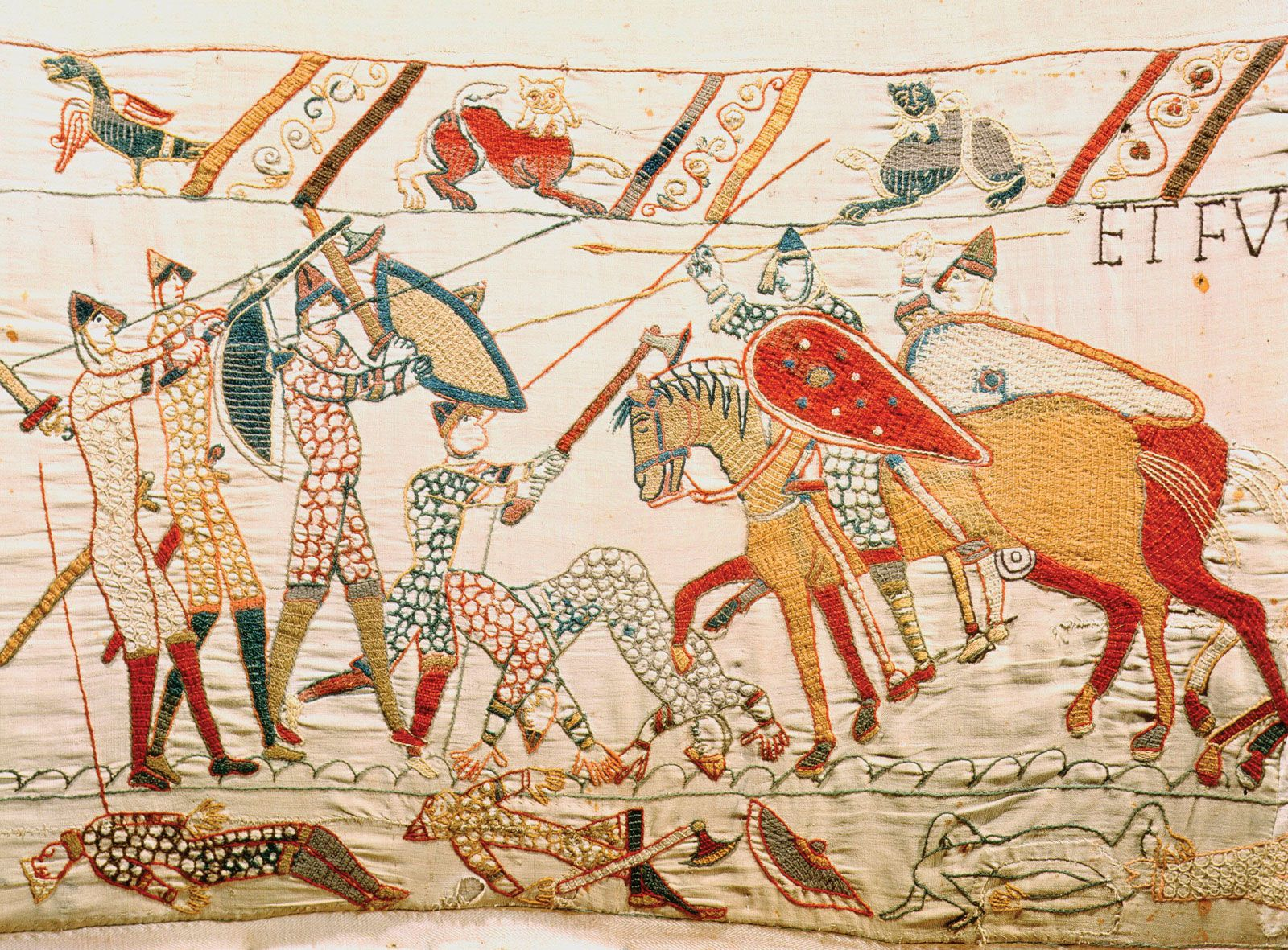Teppich Von Bayeux Reading Battle Scene Bayeux Tapestry The Bayeux Tapestry Depicts The