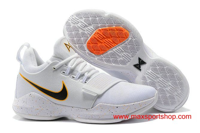 Nike Pg 1 Home Pe Clean White Black And Yellow Swoosh Men S Basketball Shoes