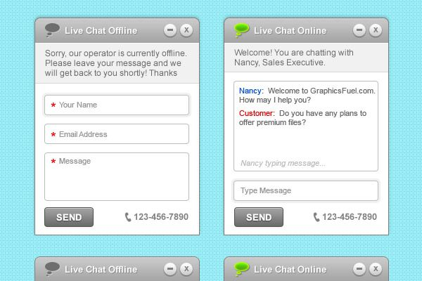Clean & simple live chat interface (PSD