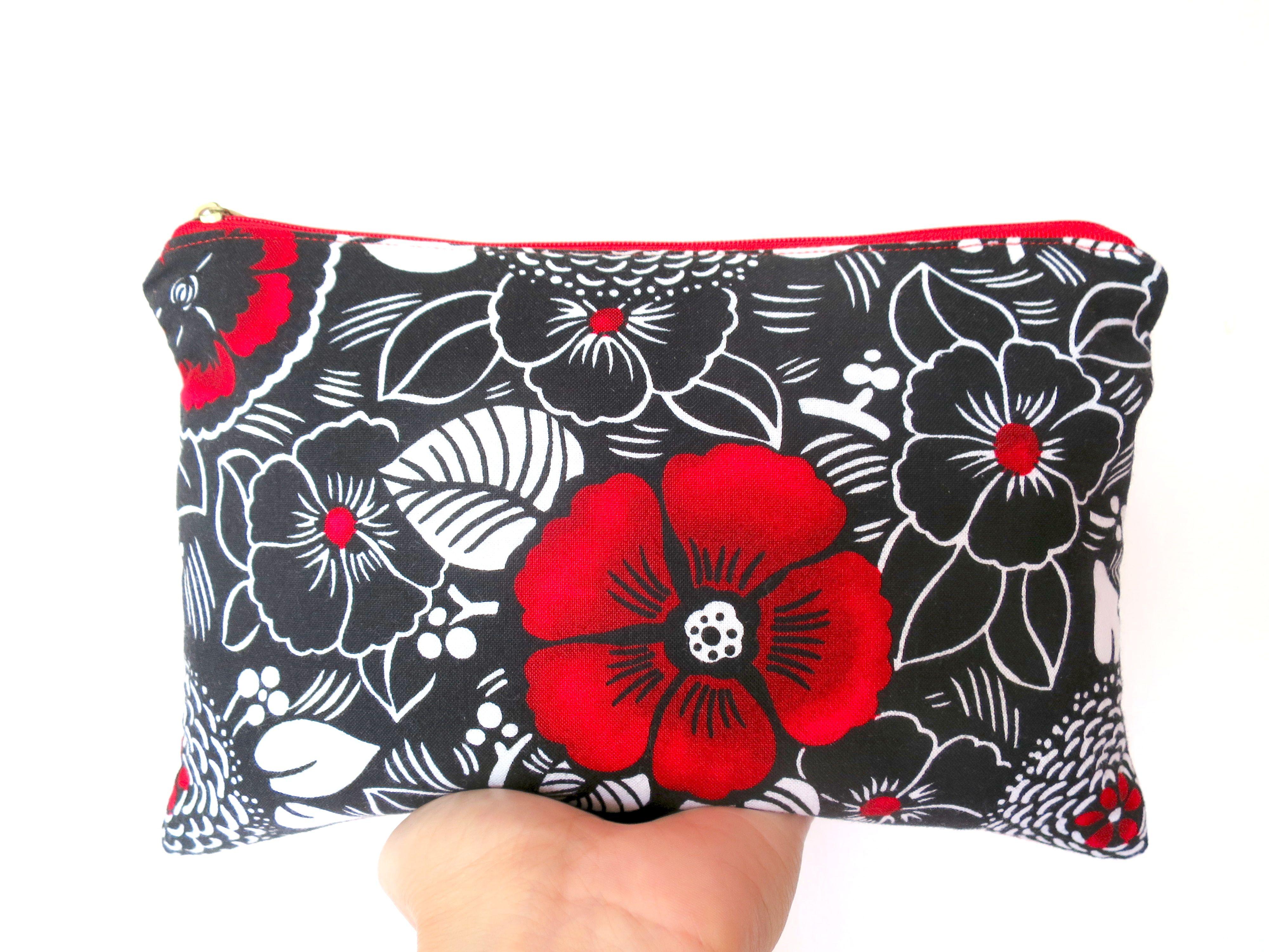Sales Japanese fabric makeup bag, Cosmetic bag, Red