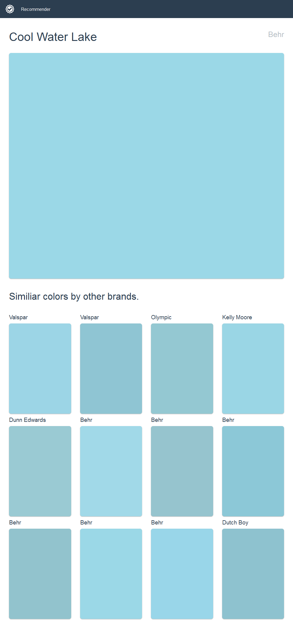 Cool Water Lake Behr Click The Image To See Similiar Colors By Other Brands House Paint Exterior Dutch Boy Paint Olympic Paint
