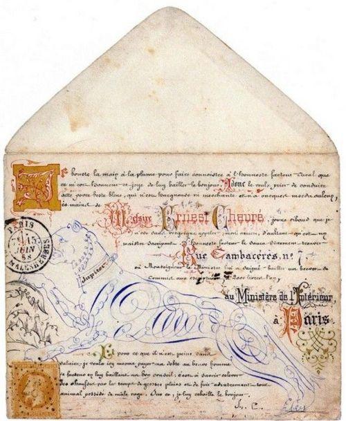 Calligraphies et enluminures sur enveloppe. 1868.
