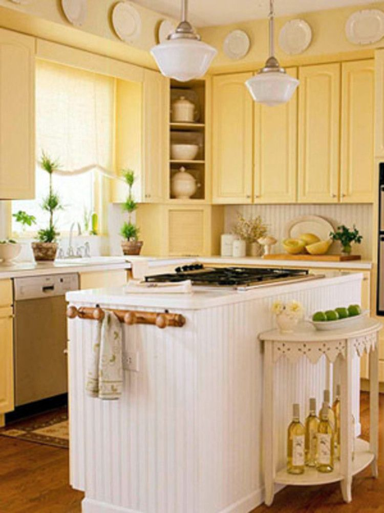 Bead Board Backsplash And Island Small Table In Front Of The