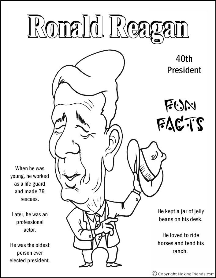 Good Coloring Pages Of Presidents 48 Ronald Reagan Coloring Page