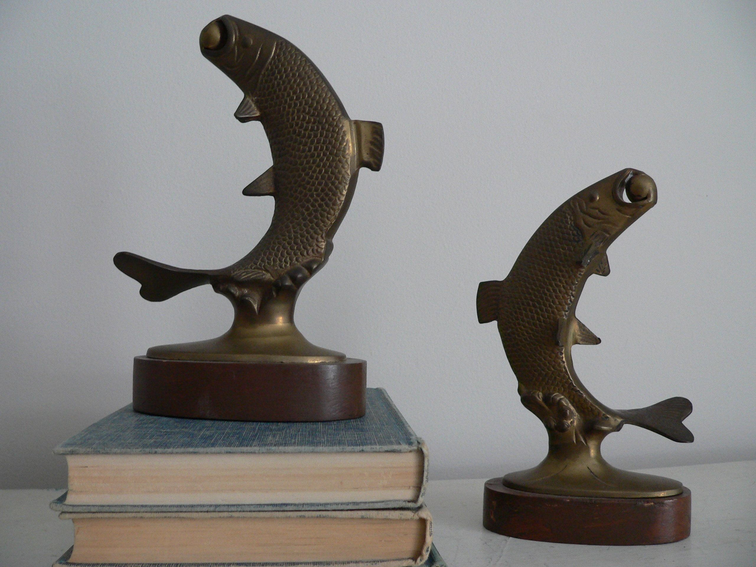 Vintage Brass Fish Bookends Gift For Angler Gift For Him Etsy Bookends Angler Gifts Vintage Brass