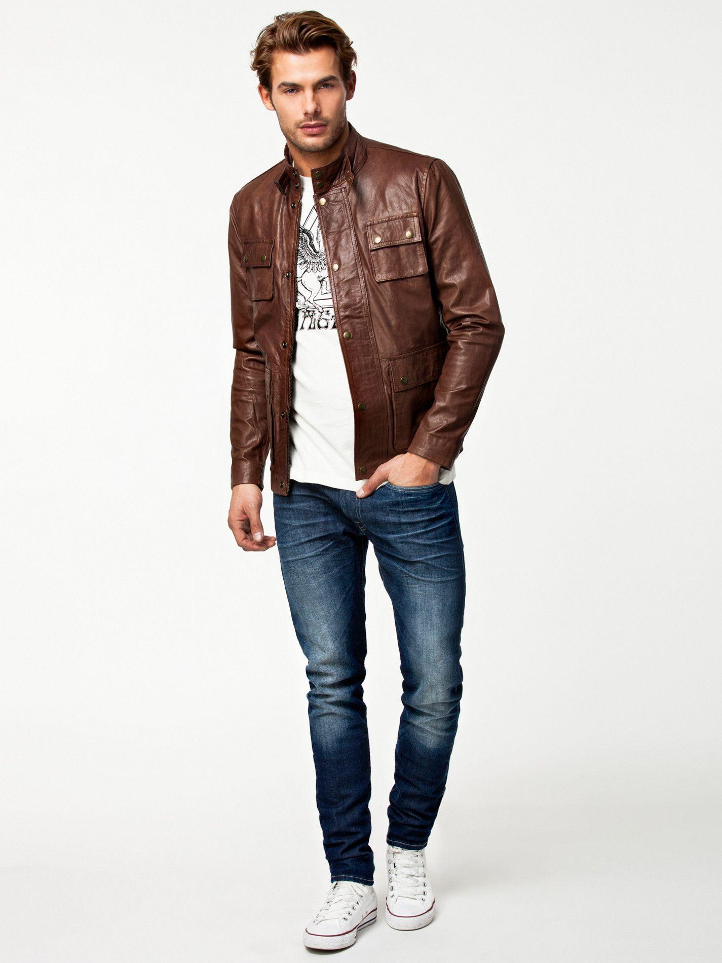 Leather jacket jack and jones - Napoli Leather Jacket Premium Tech By Jack Jones Brown Jackets And Coats